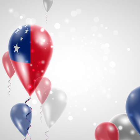 feast: Flag of Samoa. Independence Day. Flag of Micronesia on air balloon. Celebration and gifts. Balloons on the feast of the national day.  Use for brochures, printed materials, signs, elements Illustration