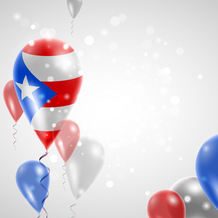 feast day: Flag of Puerto Rico. Independence Day. Flag of Micronesia on air balloon. Celebration and gifts. Balloons on the feast of the national day.  Use for brochures, printed materials, signs, elements
