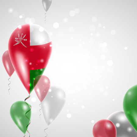 feast day: Flag of Oman. Independence Day. Flag of Micronesia on air balloon. Celebration and gifts. Balloons on the feast of the national day.  Use for brochures, printed materials, signs, elements