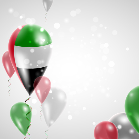 Flag of United Arab Emirates. Independence Day. Flag of Micronesia on air balloon. Celebration and gifts. Balloons on the feast of the national day.  Use for brochures, printed materials, signs, elements