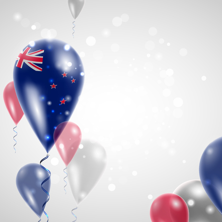 new zealand flag: New Zealand flag. Independence Day. Flag of Micronesia on air balloon. Celebration and gifts. Balloons on the feast of the national day.  Use for brochures, printed materials, signs, elements