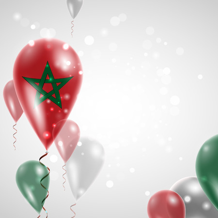 feast day: Flag of Morocco. Independence Day. Flag of Micronesia on air balloon. Celebration and gifts. Balloons on the feast of the national day.  Use for brochures, printed materials, signs, elements