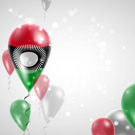 feast: Flag of Malawi. Independence Day. Flag of Micronesia on air balloon. Celebration and gifts. Balloons on the feast of the national day.  Use for brochures, printed materials, signs, elements