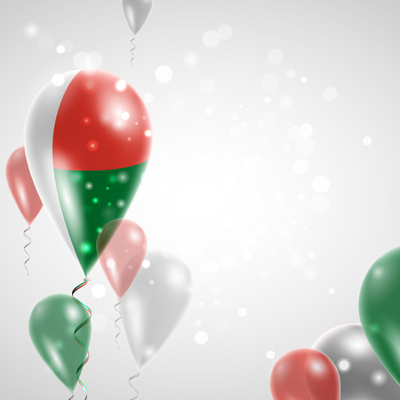 feast: Madagascar flag. Independence Day. Flag of Micronesia on air balloon. Celebration and gifts. Balloons on the feast of the national day.  Use for brochures, printed materials, signs, elements Illustration