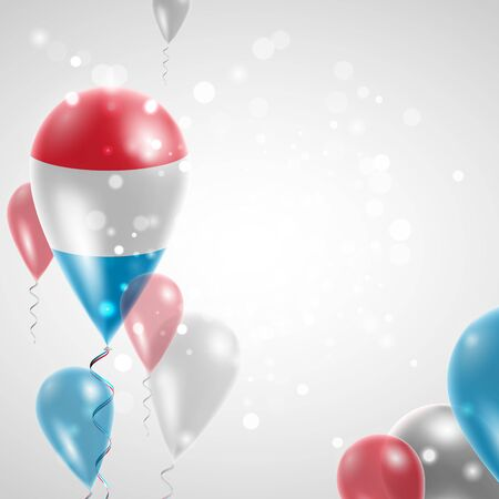 feast day: Flag of Luxembourg. Independence Day. Flag of Micronesia on air balloon. Celebration and gifts. Balloons on the feast of the national day.  Use for brochures, printed materials, signs, elements