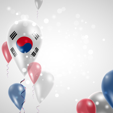 republic of korea: Flag of the Republic of Korea. Independence Day. Flag of Micronesia on air balloon. Celebration and gifts. Balloons on the feast of the national day.  Use for brochures, printed materials, signs, elements Illustration