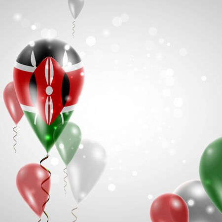 feast day: Flag of Kenya. Independence Day. Flag of Micronesia on air balloon. Celebration and gifts. Balloons on the feast of the national day.  Use for brochures, printed materials, signs, elements
