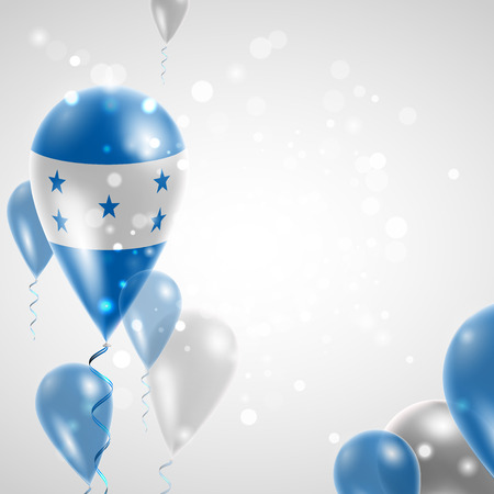 patriotism: Flag of Honduras. Independence Day. Flag of Micronesia on air balloon. Celebration and gifts. Balloons on the feast of the national day.  Use for brochures, printed materials, signs, elements