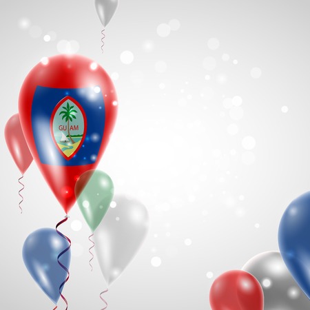 feast day: Flag of Guam. Independence Day. Flag of Micronesia on air balloon. Celebration and gifts. Balloons on the feast of the national day.  Use for brochures, printed materials, signs, elements Illustration