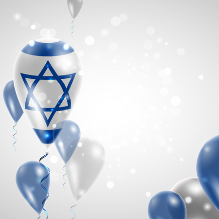 Flag of Israel.  Independence Day. Flag of Micronesia on air balloon. Celebration and gifts. Balloons on the feast of the national day.  Use for brochures, printed materials, signs, elements Illustration