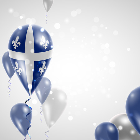 quebec: Quebec flag. Independence Day. Flag of Micronesia on air balloon. Celebration and gifts. Balloons on the feast of the national day.  Use for brochures, printed materials, signs, elements