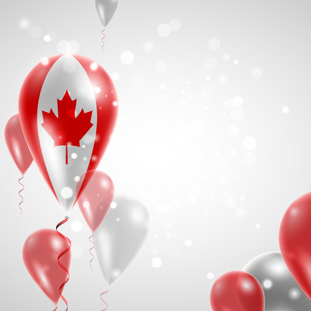 canada day: Flag of Canada. Independence Day. Flag of Micronesia on air balloon. Celebration and gifts. Balloons on the feast of the national day.  Use for brochures, printed materials, signs, elements
