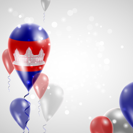 feast: Flag of Cambodia. Independence Day. Flag of Micronesia on air balloon. Celebration and gifts. Balloons on the feast of the national day.  Use for brochures, printed materials, signs, elements