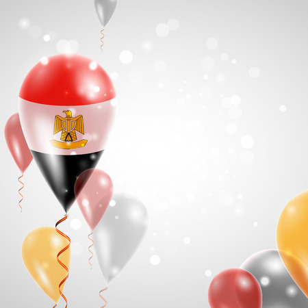egypt revolution: Flag of Egypt. Independence Day. Flag of Micronesia on air balloon. Celebration and gifts. Balloons on the feast of the national day.  Use for brochures, printed materials, signs, elements