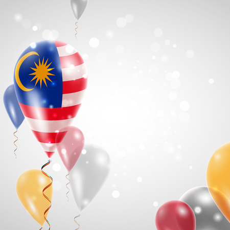 Flag of Malaysia. Independence Day. Flag of Micronesia on air balloon. Celebration and gifts. Balloons on the feast of the national day.  Use for brochures, printed materials, signs, elements Ilustrace