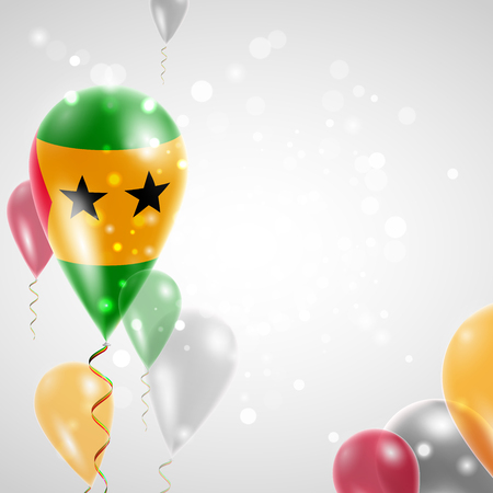 feast: Flag of Sao Tome and Principe. Independence Day. Flag of Micronesia on air balloon. Celebration and gifts. Balloons on the feast of the national day.  Use for brochures, printed materials, signs, elements Illustration