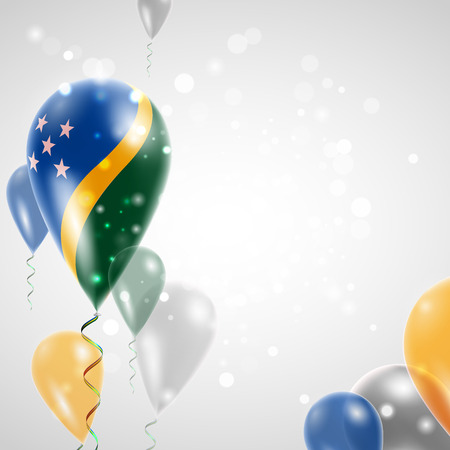 feast: Flag of Solomon Islands. Independence Day. Flag of Micronesia on air balloon. Celebration and gifts. Balloons on the feast of the national day.  Use for brochures, printed materials, signs, elements