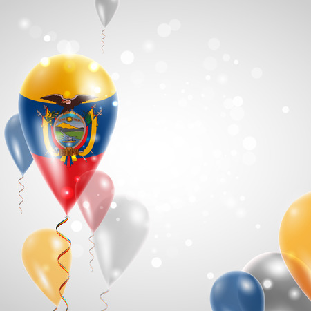 republic of ecuador: Flag of Ecuador. Independence Day. Flag of Micronesia on air balloon. Celebration and gifts. Balloons on the feast of the national day.  Use for brochures, printed materials, signs, elements Illustration