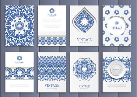 distributing: Stock vector set of brochures in vintage style. Design templates navy blue floral frames, ornaments, patterns and white backgrounds. Use for printed materials, signs, elements, web sites, cards