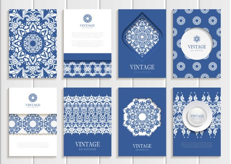 Stock vector set of brochures in vintage style. Design templates white floral frames, ornaments, patterns and navy backgrounds. Use for printed materials, signs, elements, web sites, cards