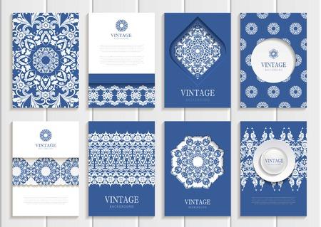 Stock Vector conjunto de folletos en el estilo vintage. Las plantillas de diseño blanco cuadros de flores, adornos, patrones y fondos de la marina. El uso para materiales impresos, muestras, elementos, sitios web, tarjetas