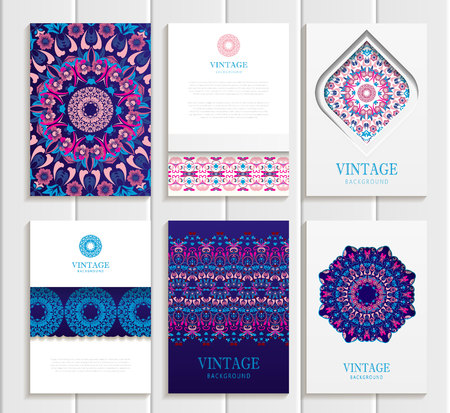 cover art: Stock vector set of brochures in vintage style. Design templates bright floral frames, ornaments, patterns and white backgrounds. Use for printed materials, signs, elements, web sites, cards