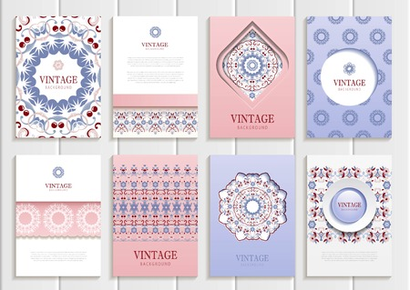 Stock vector set of brochures in vintage style. Design templates rose quartz floral frames, ornaments, patterns and serenity backgrounds. Use for printed materials, signs, elements, web sites, cards