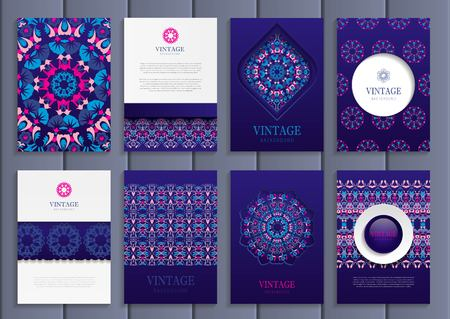 distributing: Stock vector set of brochures in vintage style. Design templates bright floral frames, ornaments, patterns and dark purple backgrounds. Use for printed materials, signs, elements, web sites, cards