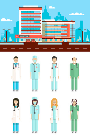 nursing staff: Set stock vector illustration isolated city street with clinic, cartoon nursing staff, doctors in flat style white background element infographic, website, icon Illustration