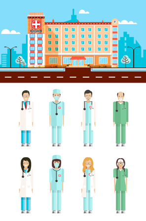 otolaryngologist: Set stock vector illustration isolated city street with polyclinic, cartoon nursing staff, doctors flat style white background element infographic, website, icon