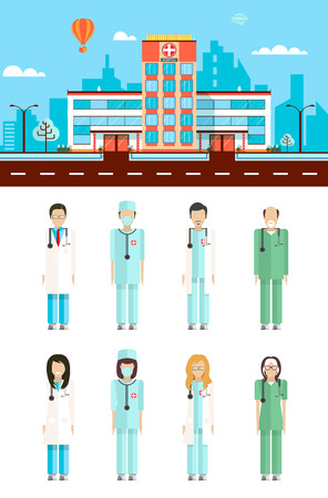 nursing staff: Set stock vector illustration isolated city street with hospital, cartoon nursing staff, doctor in flat style white background element infographic, website, icon Illustration