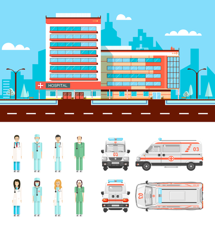 nursing staff: Set stock vector illustration isolated ambulance top, front, side, back view, city street with clinic, cartoon nursing staff, doctors in flat style white background element infographic, website, icon