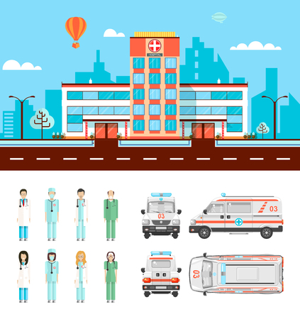 hospital gown: Set stock vector illustration isolated ambulance top, front, side, back view, city street with hospital, cartoon nursing staff, doctor in flat style white background element infographic, website, icon