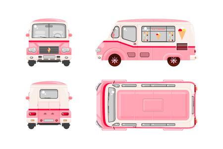 helado caricatura: Conjunto de la ilustración del vector aislado de helado rosado coche, Helado sobre ruedas superior, frontal, lateral, vista posterior estilo de fondo plano de color blanco Elemento infografía, página web, icono
