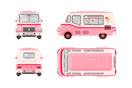 Set stock vector illustration isolated pink Ice cream car, Ice cream on wheels top, front, side, back view flat style white background Element infographic, website, icon