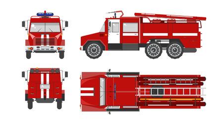 brandweer cartoon: Set stock vector illustratie geïsoleerde rode brandweerauto top, voor-, zij-, achteraanzicht vlakke stijl witte achtergrond Element infographic, website, pictogram