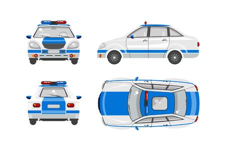 Conjunto de la ilustración del vector superior aislada coche de policía, frontal, lateral, vista posterior estilo de fondo plano de color blanco Elemento infografía, página web, icono