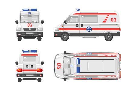 Conjunto de la ilustración del vector aislado superior del coche ambulancia, frontal, lateral, vista posterior estilo plano fondo blanco elemento de infografía, página web, icono