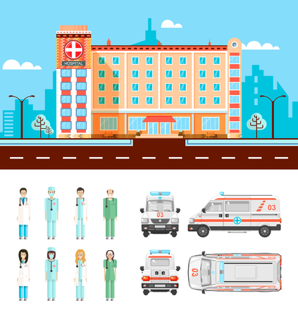 polyclinic: Set stock vector illustration isolated ambulance top, front, side, back view, city street with polyclinic, cartoon nursing staff, doctors flat style white background element infographic, website, icon Illustration