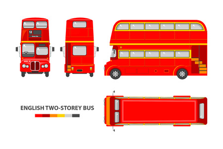 two story: Set stock vector illustration isolated English red double-decker bus top, front, side, back view flat style white background Element infographic, website, icon