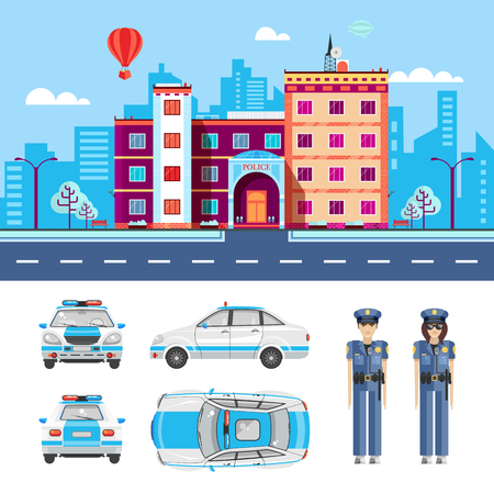 Set stock vector illustration isolated city street with police station, police car top, side, rear, front view, cartoon policeman, policing, investigator flat style element infographic, website, icon Illustration