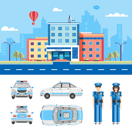 policing: Set stock vector illustration isolated city street with police station, police car top, side, rear, front view, cartoon policeman, policing, investigator flat style element infographic, website Illustration