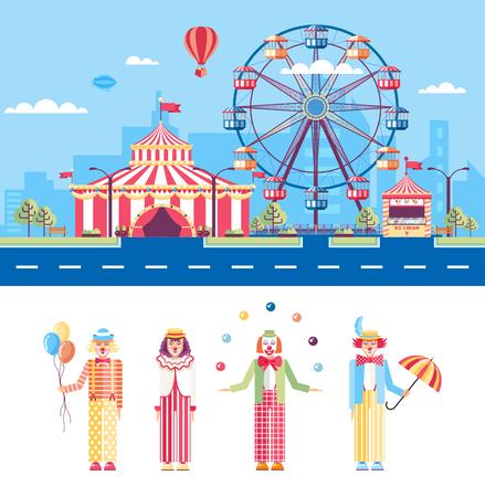 payasos caricatura: Conjunto aislado de la ilustración vectorial calle de la ciudad con el parque de atracciones, tienda de circo, noria, mimos dibujos animados, payasos, malabaristas en estilo plano elemento de infografía, página web, icono Vectores