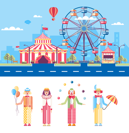 mummers: Set stock vector illustration isolated city street with amusement park, circus tent, ferris wheel, cartoon mummers, clowns, jugglers in flat style element infographic, website, icon