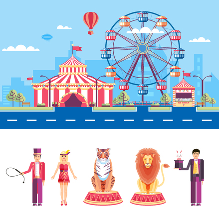 tent city: Set stock vector illustration isolated city street with amusement park, circus tent, ferris wheel, cartoon tamer, assistant, lion, tiger, magician, rabbit flat style element infographic, website, icon Illustration