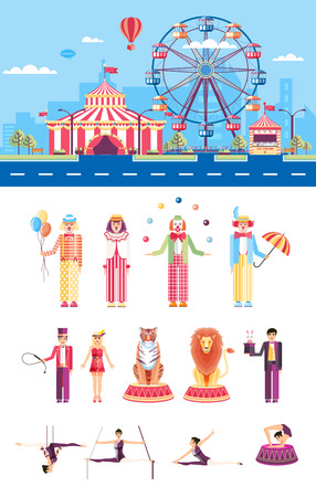 mummers: Set stock vector illustration isolated city street with amusement park, circus tent, ferris wheel, clowns, jugglers, tamer, magician, gymnast, acrobat in flat style element infographic, website, icon Illustration