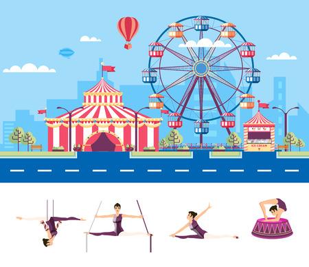 Conjunto aislado de la ilustración vectorial calle de la ciudad con el parque de atracciones, tienda de circo, noria, gimnasta de aire de dibujos animados, acróbata, artista de circo en el estilo plano elemento de infografía, página web, icono