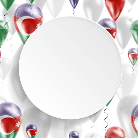 feast day: Azerbaijani national flag. Independence Day. Flag of Micronesia on air balloon. Celebration and gifts. Balloons on the feast of the national day.  Use for brochures, printed materials, signs, elements Illustration