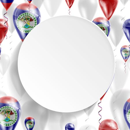 feast: Flag of Belize. Independence Day. Flag of Micronesia on air balloon. Celebration and gifts. Balloons on the feast of the national day.  Use for brochures, printed materials, signs, elements