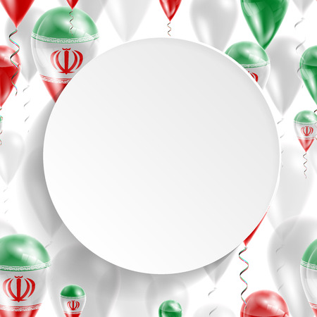feast: Flag of Iran. Independence Day. Flag of Micronesia on air balloon. Celebration and gifts. Balloons on the feast of the national day.  Use for brochures, printed materials, signs, elements